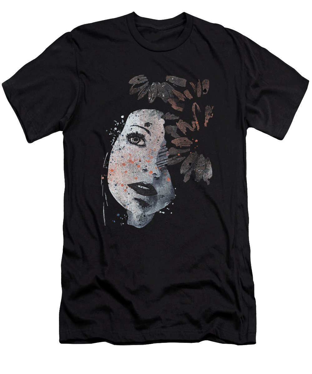 Flowers T-Shirt featuring the painting Lack Of Interest - Rust by Marco Paludet