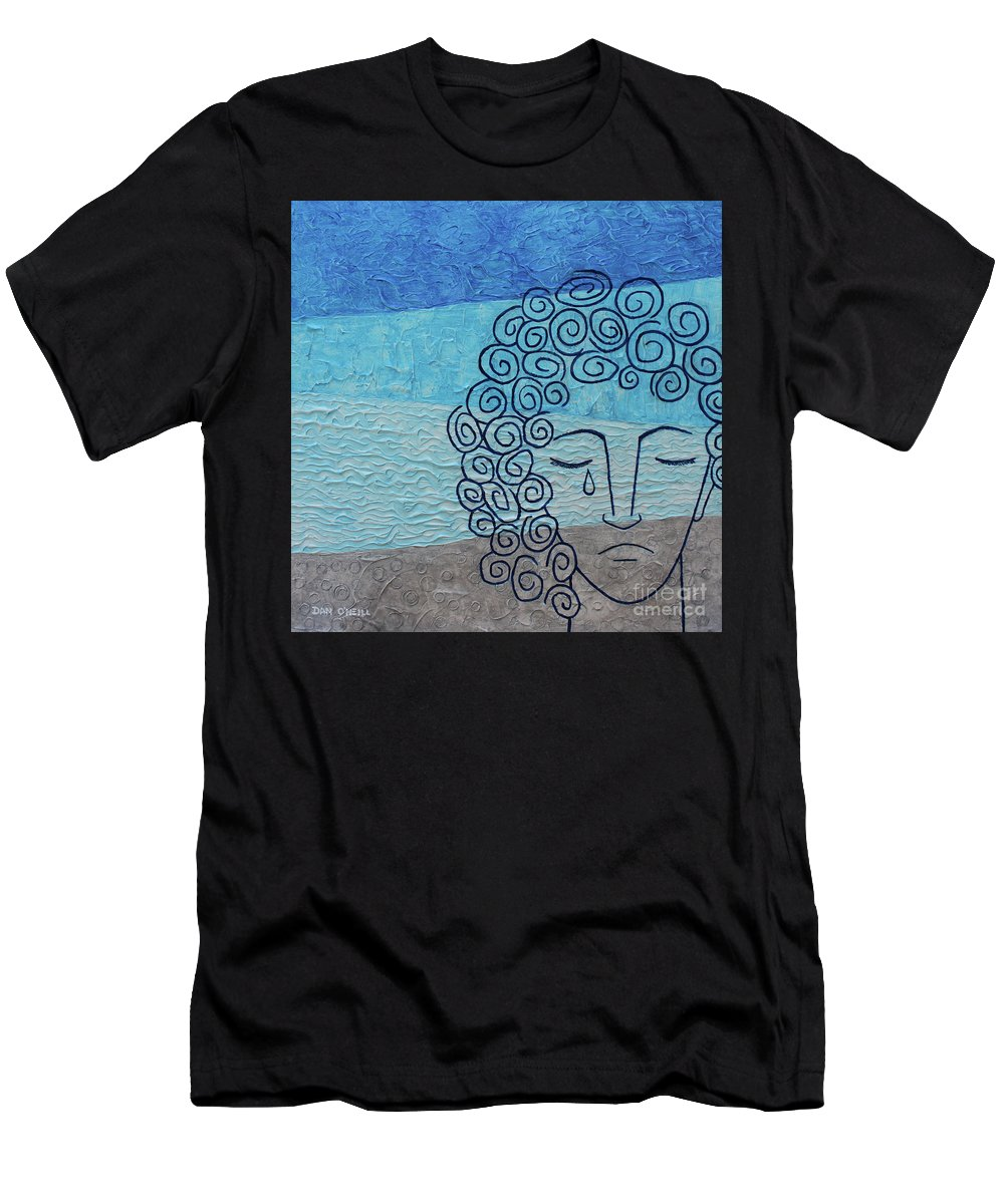 Sad Men's T-Shirt (Athletic Fit) featuring the painting Lady Blue by Dan O'Neill