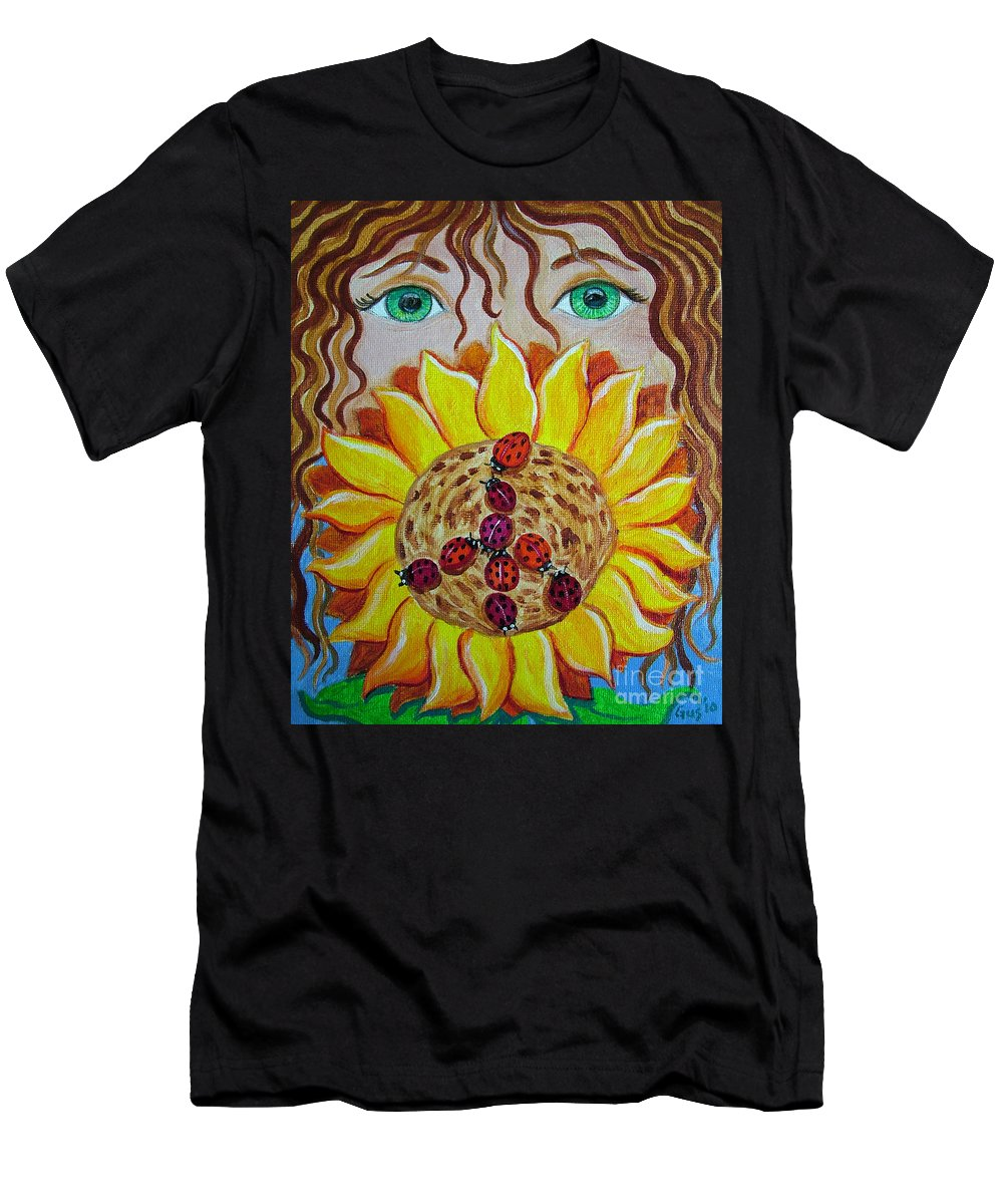 Lady Bug Men's T-Shirt (Athletic Fit) featuring the painting Lady Bug Peace by Nick Gustafson