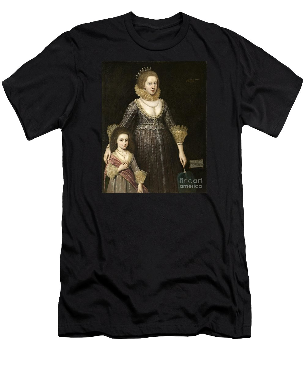 Paul Van Somer Men's T-Shirt (Athletic Fit) featuring the painting Lady Cavendish Later Countess by MotionAge Designs