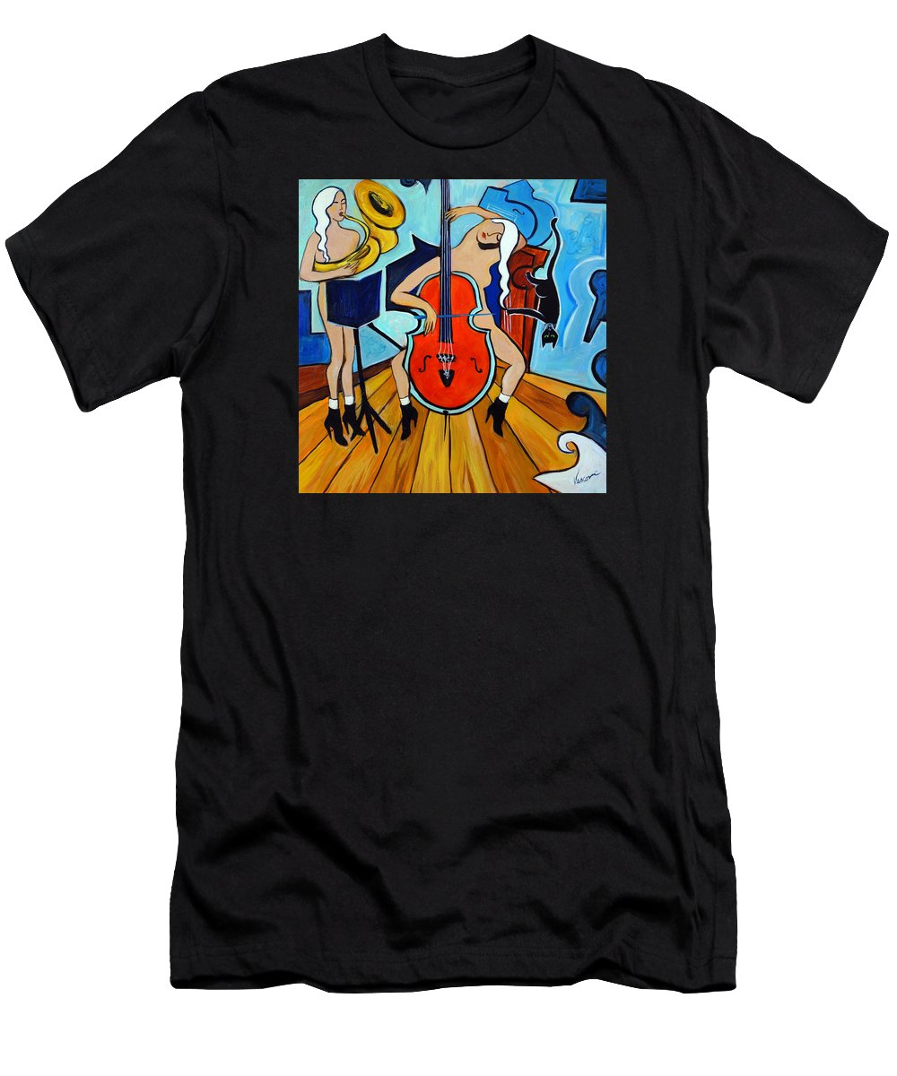 Musicians Men's T-Shirt (Athletic Fit) featuring the painting Lady In Red by Valerie Vescovi