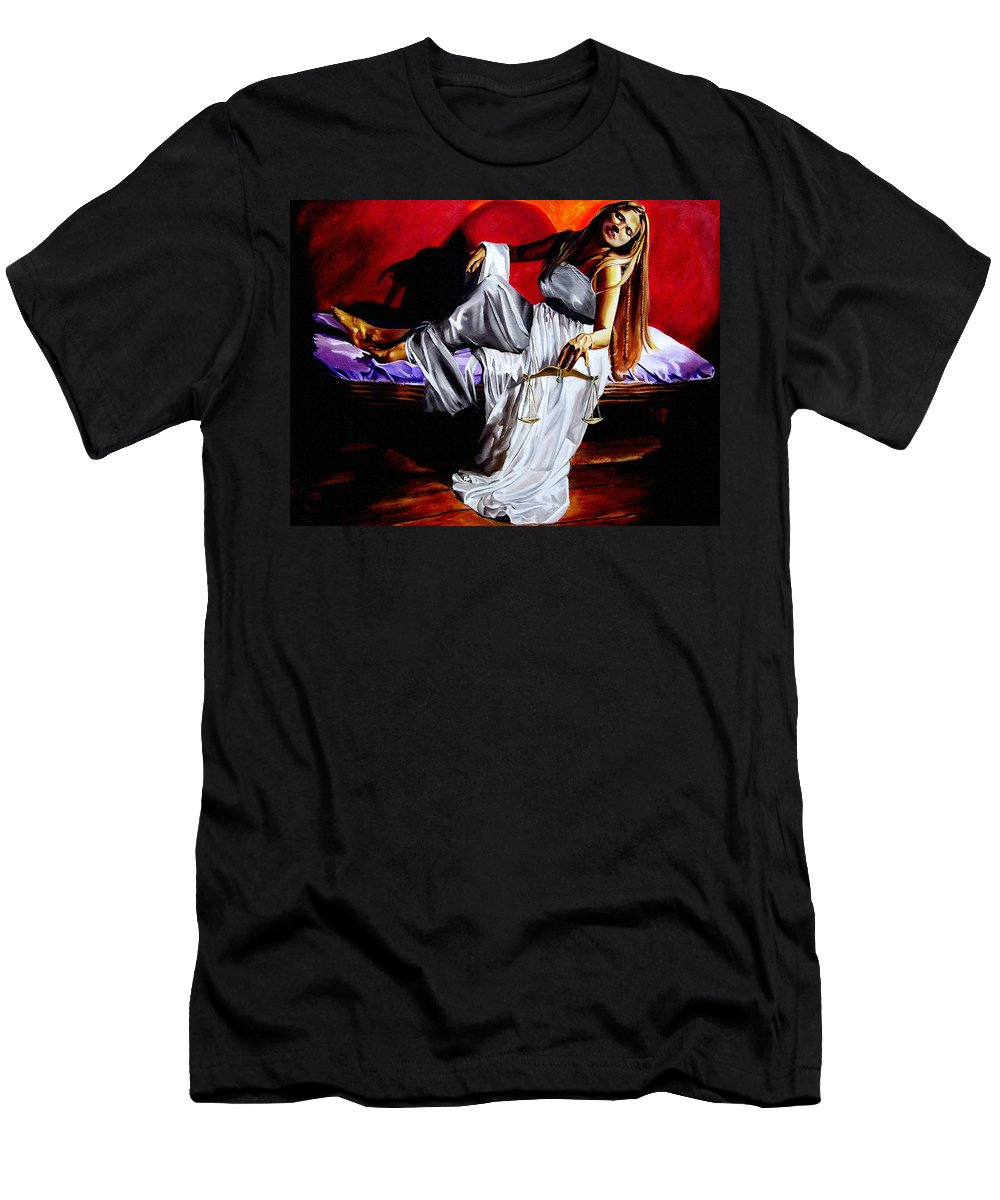 Law Art Men's T-Shirt (Athletic Fit) featuring the painting Lady Justice by Laura Pierre-Louis