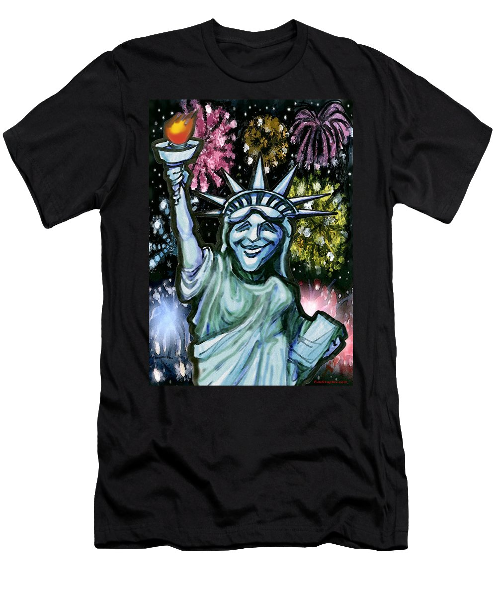 Liberty Men's T-Shirt (Athletic Fit) featuring the painting Lady Liberty by Kevin Middleton