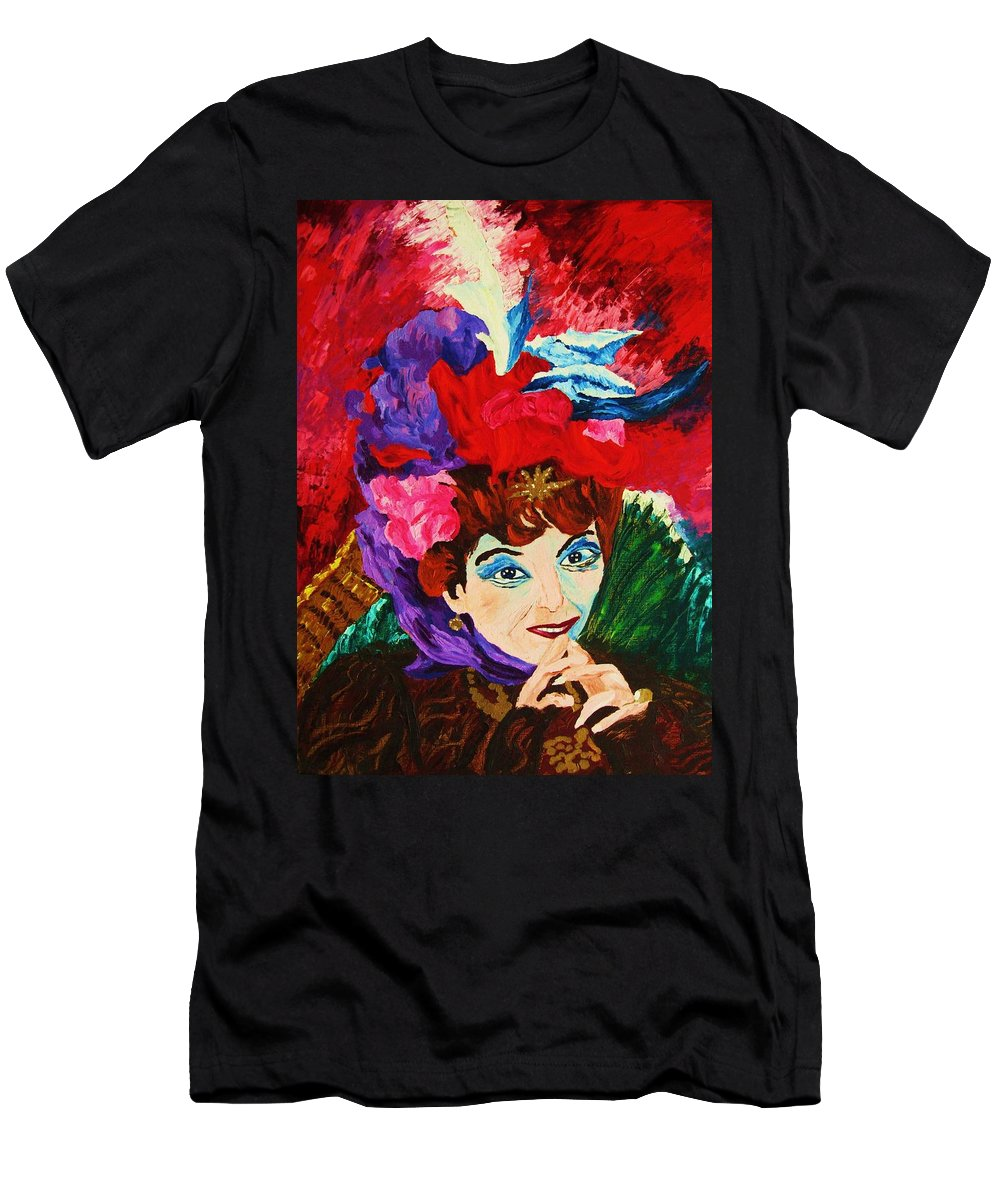 Red Hats Men's T-Shirt (Athletic Fit) featuring the painting Lady With The Red Hat by Carole Spandau