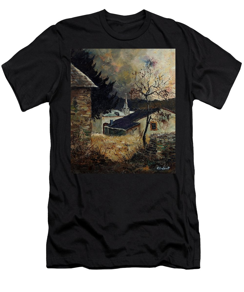 Tree Men's T-Shirt (Athletic Fit) featuring the painting Laforet Ardennes Village by Pol Ledent