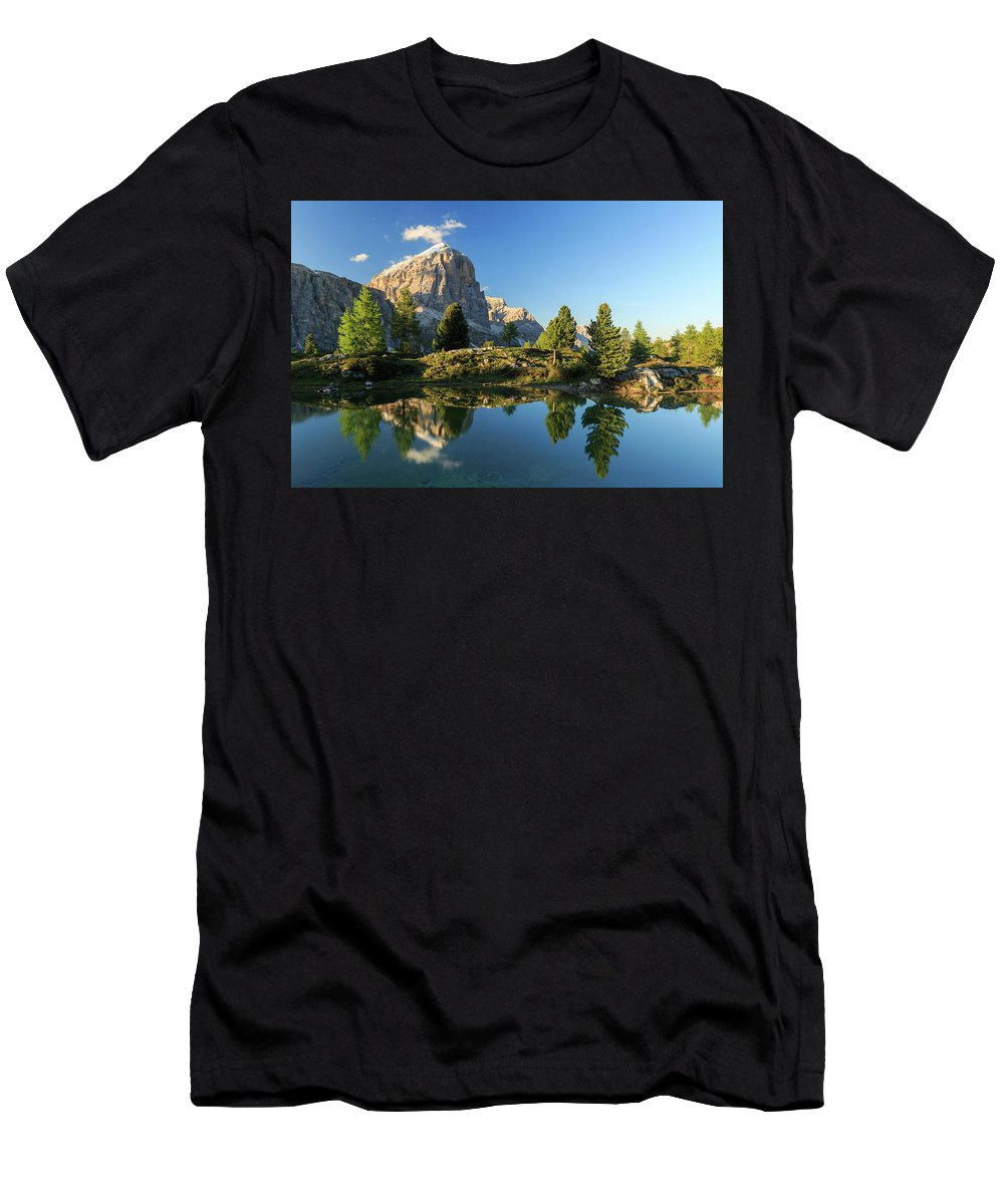 Lake Men's T-Shirt (Athletic Fit) featuring the photograph Lago Di Limides by Gabor Boszormenyi
