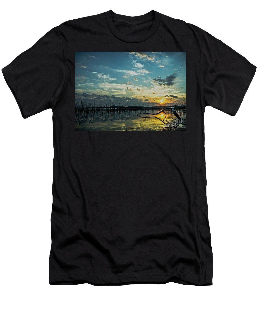 Vermont Men's T-Shirt (Athletic Fit) featuring the photograph Lake Champlain Vermont Sunrise - 2 Landscape by James Aiken