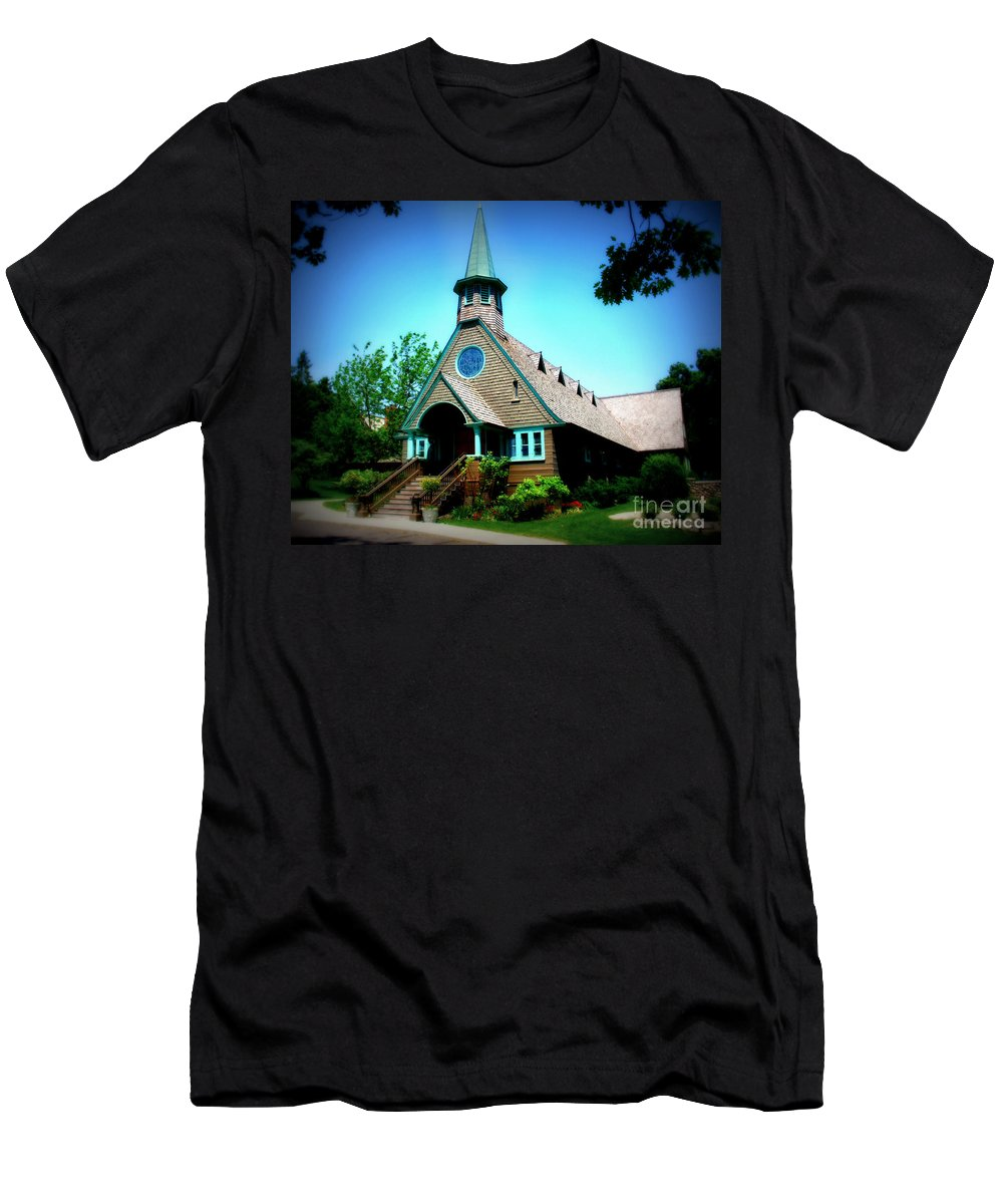 Church Men's T-Shirt (Athletic Fit) featuring the photograph Lake Church by Perry Webster