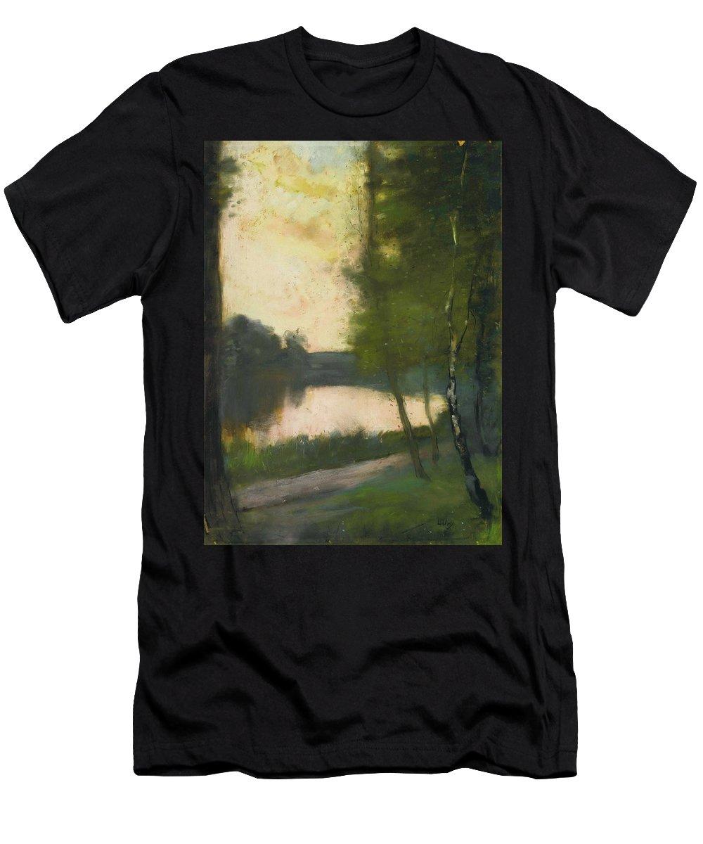 Lesser Ury 1861 - 1931 MÄrkischer See Am Abend (mÄrkisch Lake In The Evening) Men's T-Shirt (Athletic Fit) featuring the painting Lake In The Evening by MotionAge Designs