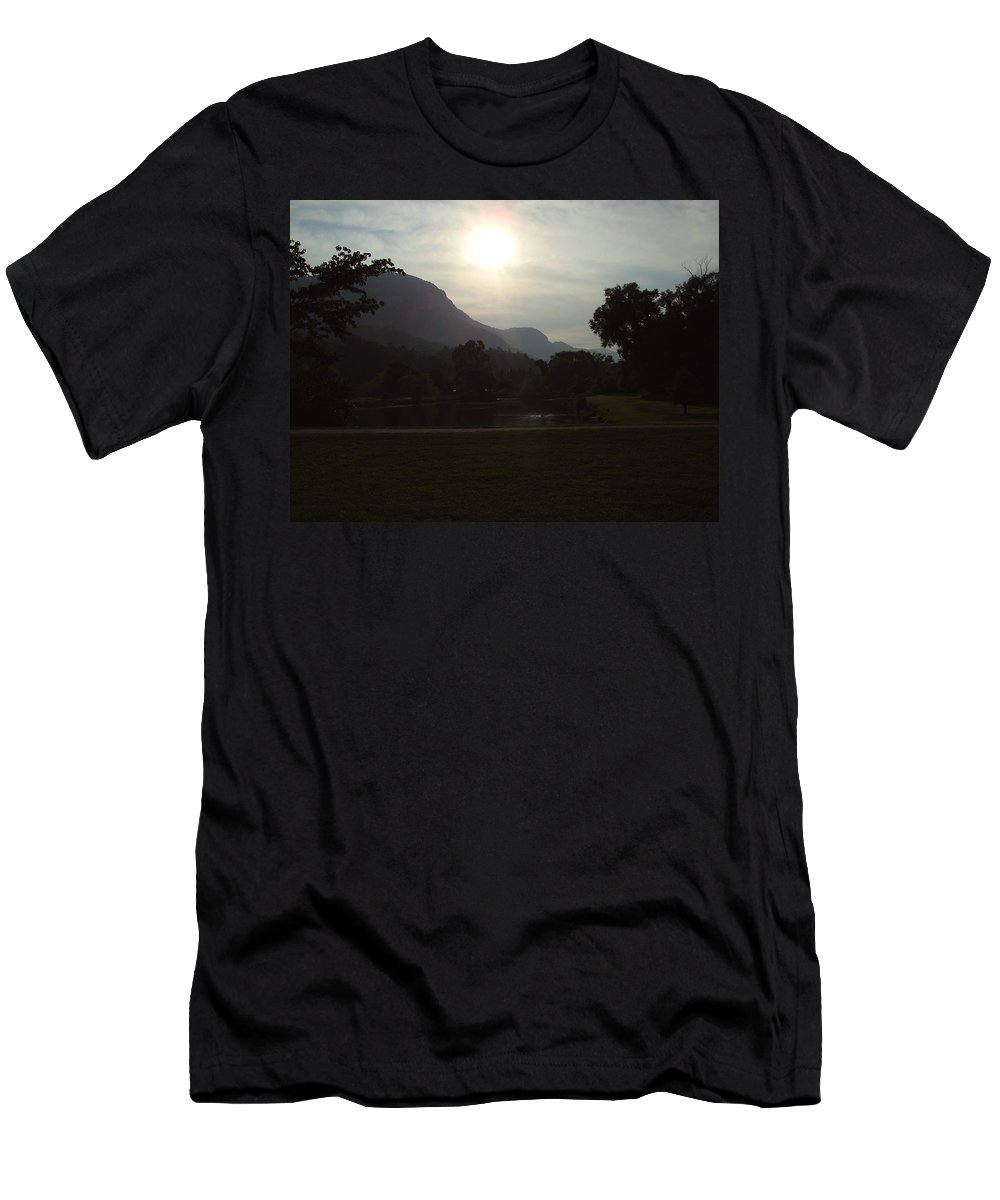 Lake Lure Men's T-Shirt (Athletic Fit) featuring the photograph Lake Lure by Flavia Westerwelle