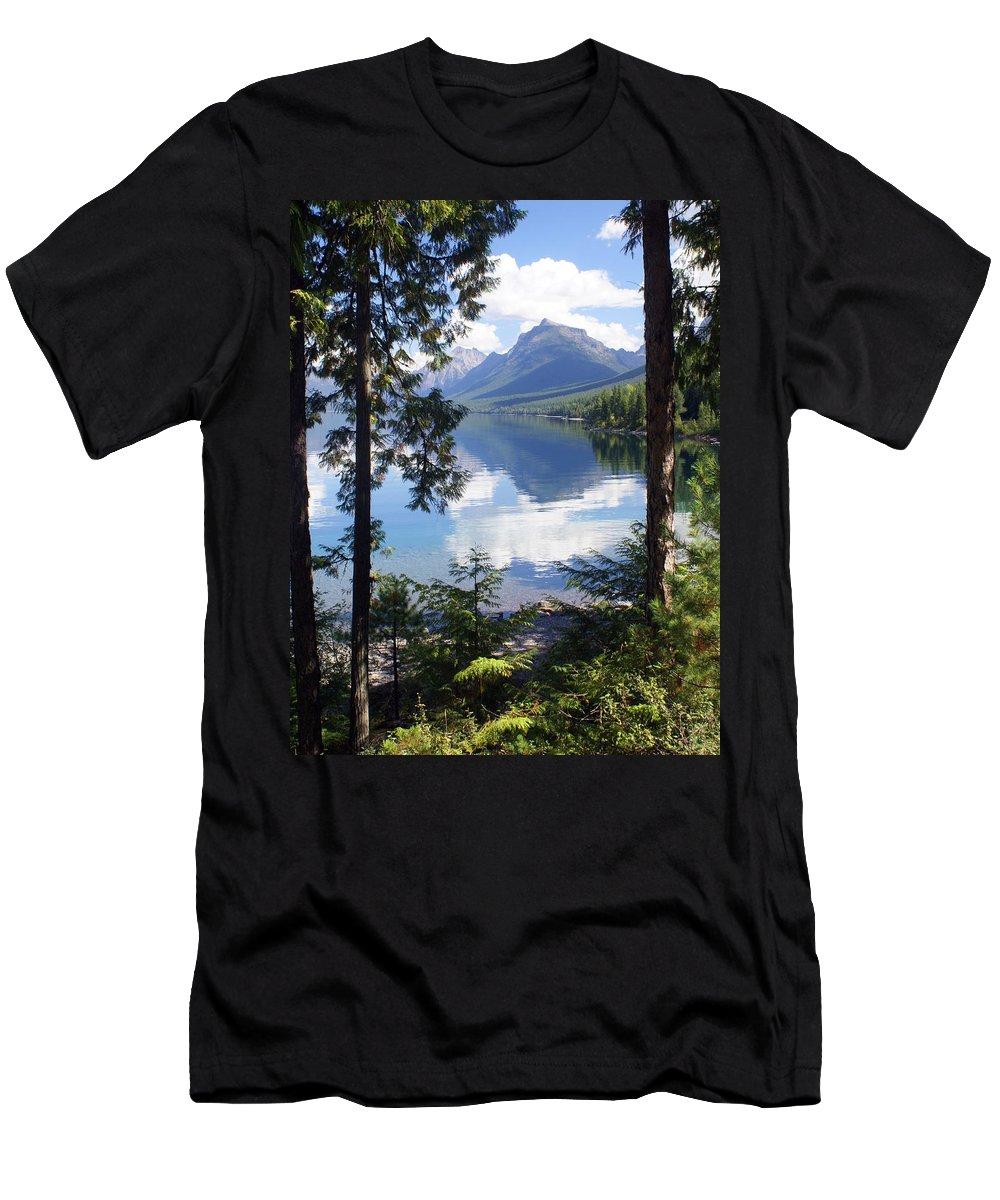 Glacier National Park Men's T-Shirt (Athletic Fit) featuring the photograph Lake Mcdlonald Through The Trees Glacier National Park by Marty Koch