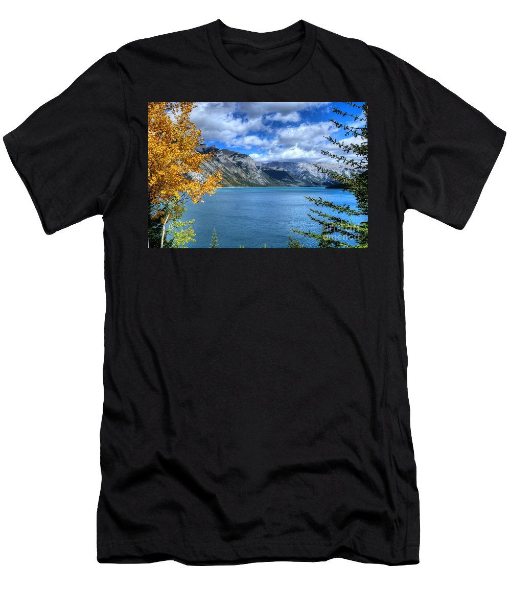 Animals Men's T-Shirt (Athletic Fit) featuring the photograph Lake Minnewanka Banff National Park Alberta Canada by Wayne Moran