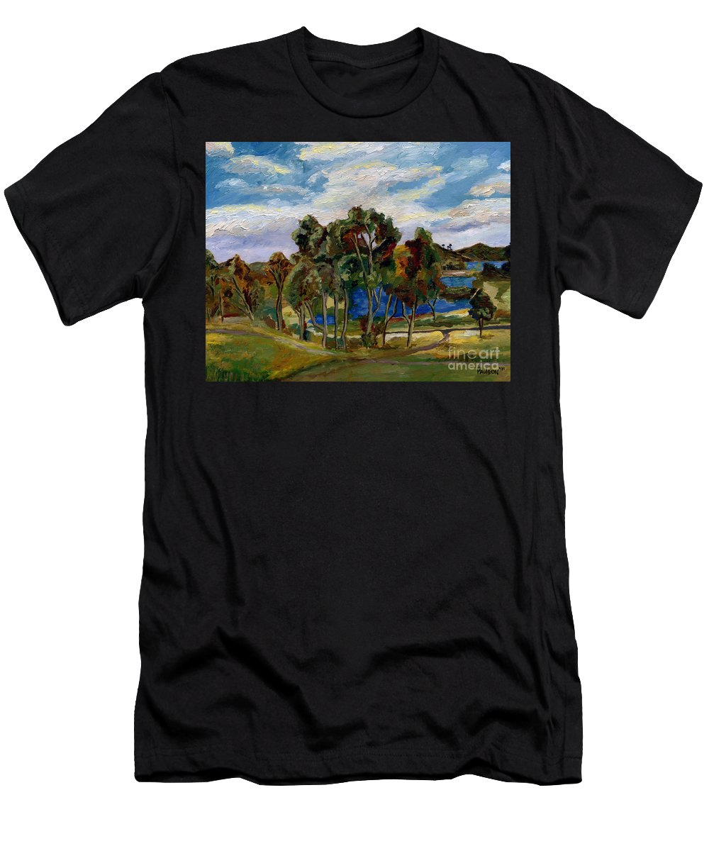 Landscape Men's T-Shirt (Athletic Fit) featuring the painting Lake Murray by Robert Paulson