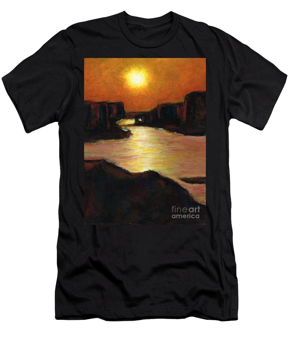 Lake Powell Men's T-Shirt (Athletic Fit) featuring the painting Lake Powell At Sunset by Frances Marino