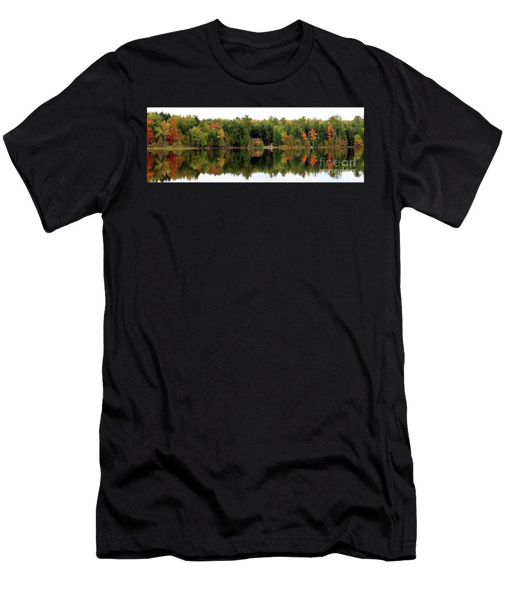 Lake Reflections Men's T-Shirt (Athletic Fit) featuring the photograph Lake Reflections Panorama 4370 4371 by Jack Schultz
