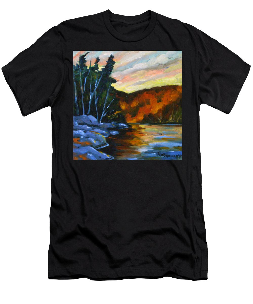 Art Men's T-Shirt (Athletic Fit) featuring the painting Lake Reflections by Richard T Pranke