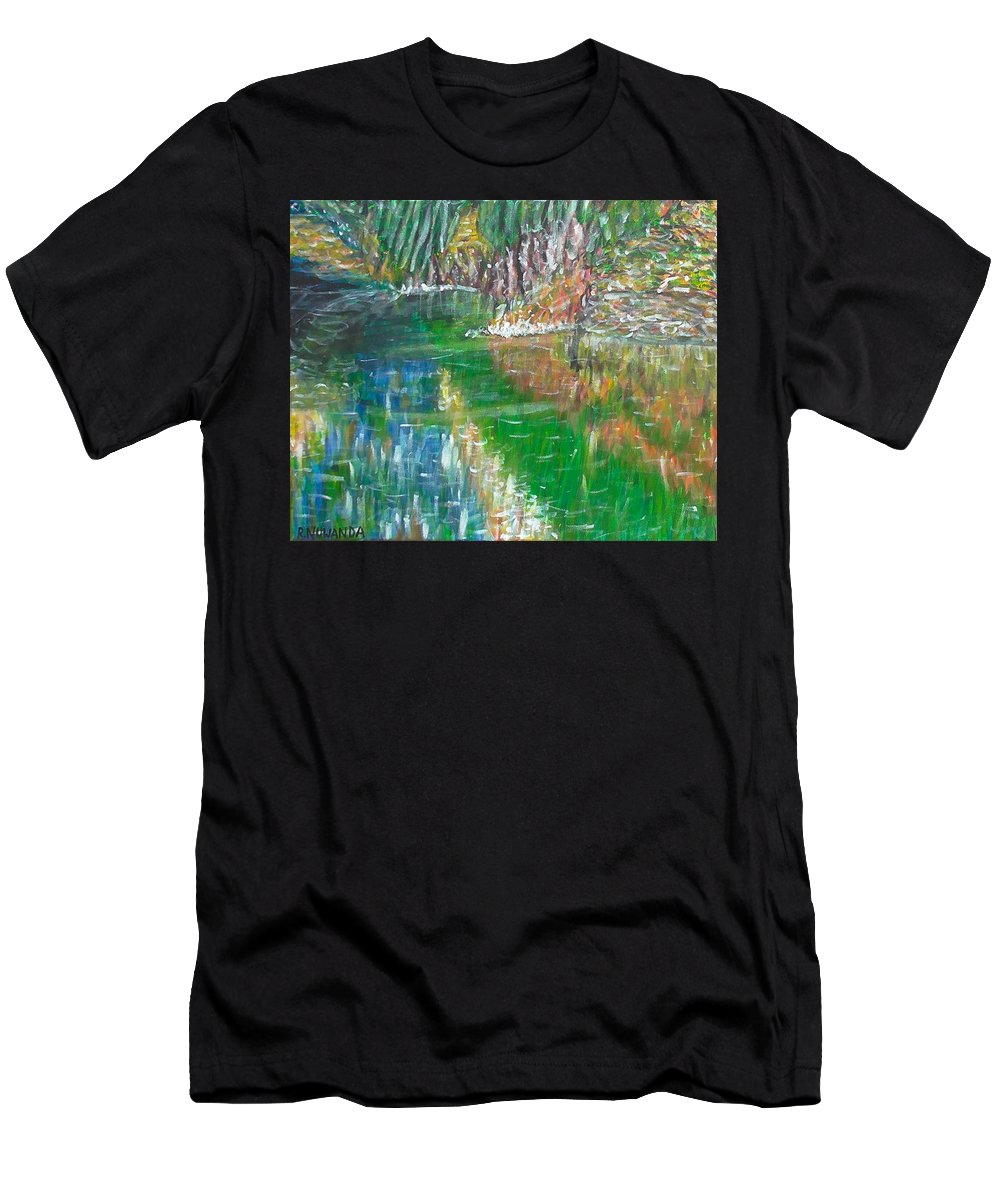 Landscape Men's T-Shirt (Athletic Fit) featuring the painting Lake Reflections by Robbie Potter