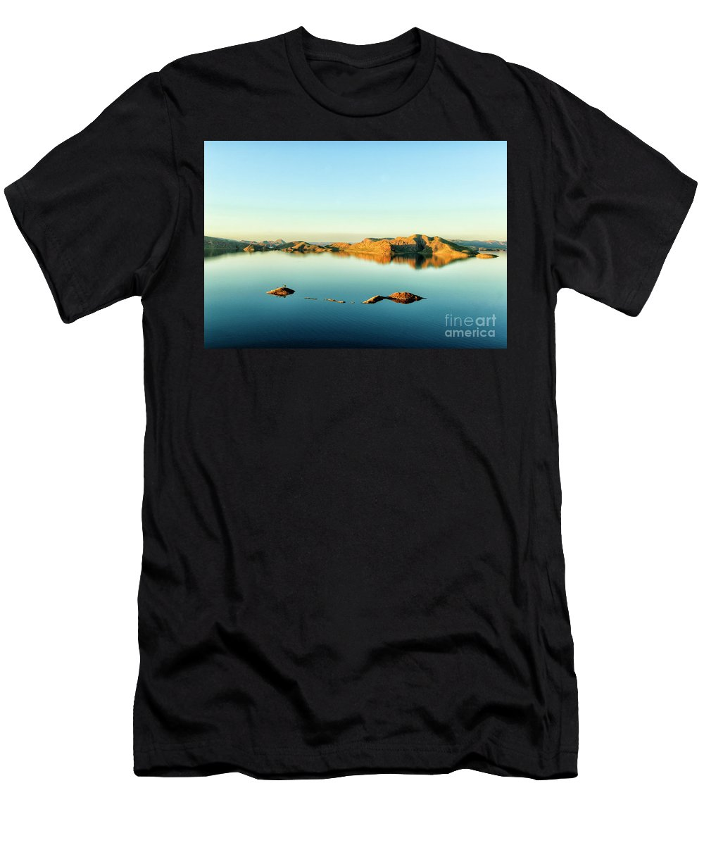 Lake Argyle Men's T-Shirt (Athletic Fit) featuring the photograph Lake Stillness by Genevieve Vallee