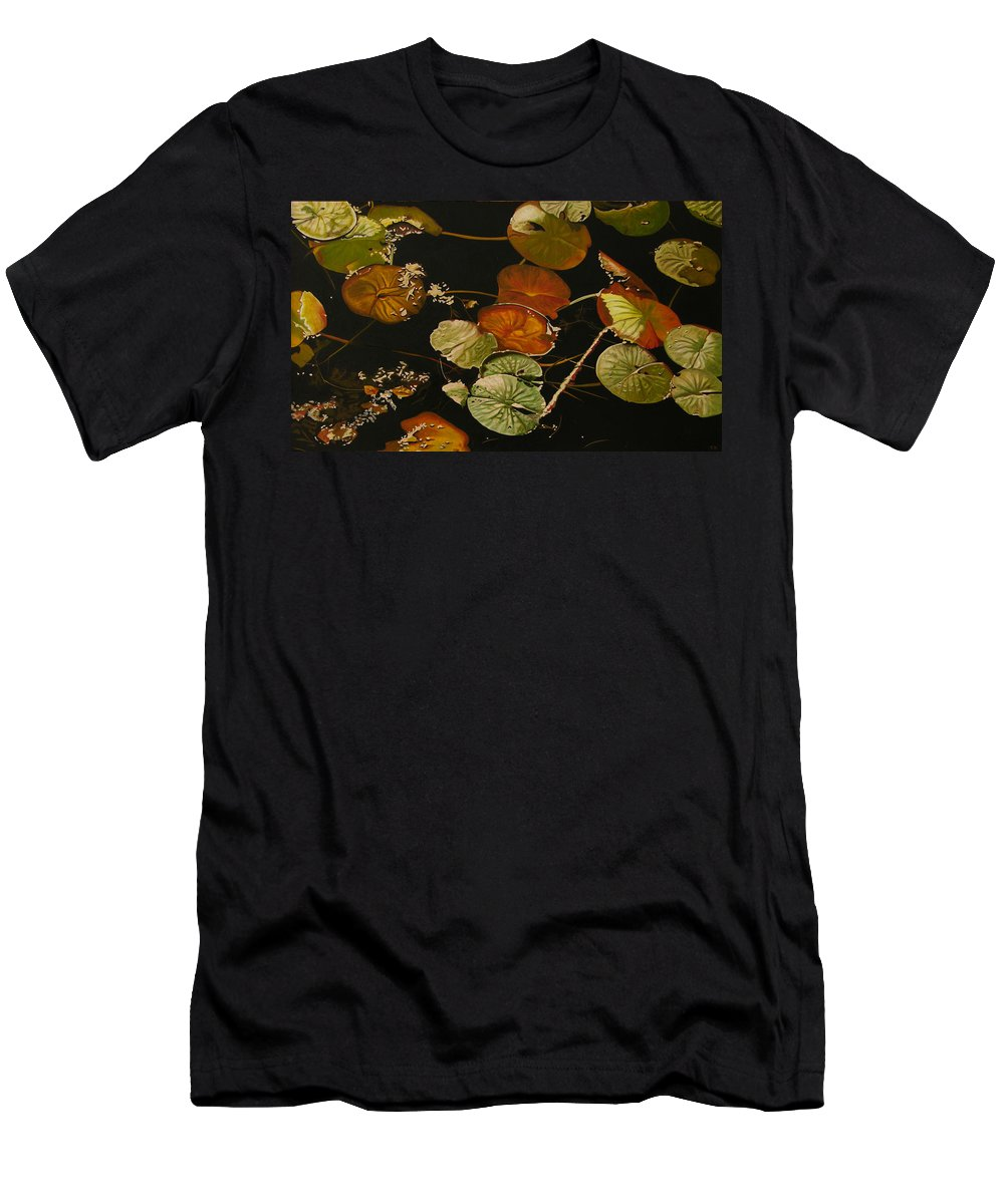 Lily Pad Men's T-Shirt (Athletic Fit) featuring the painting Lake Washington Lily Pad 15 by Thu Nguyen