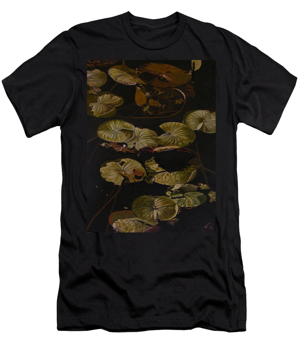 Lilypad Men's T-Shirt (Athletic Fit) featuring the painting Lake Washington Lily Pad 9 by Thu Nguyen