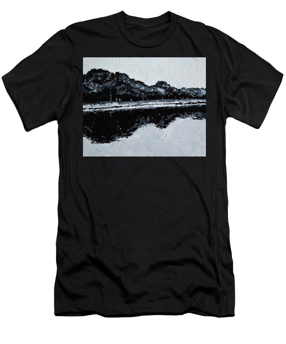 Small B W Landscapes Men's T-Shirt (Athletic Fit) featuring the painting Lal Bagh Lake 5 by Usha Shantharam