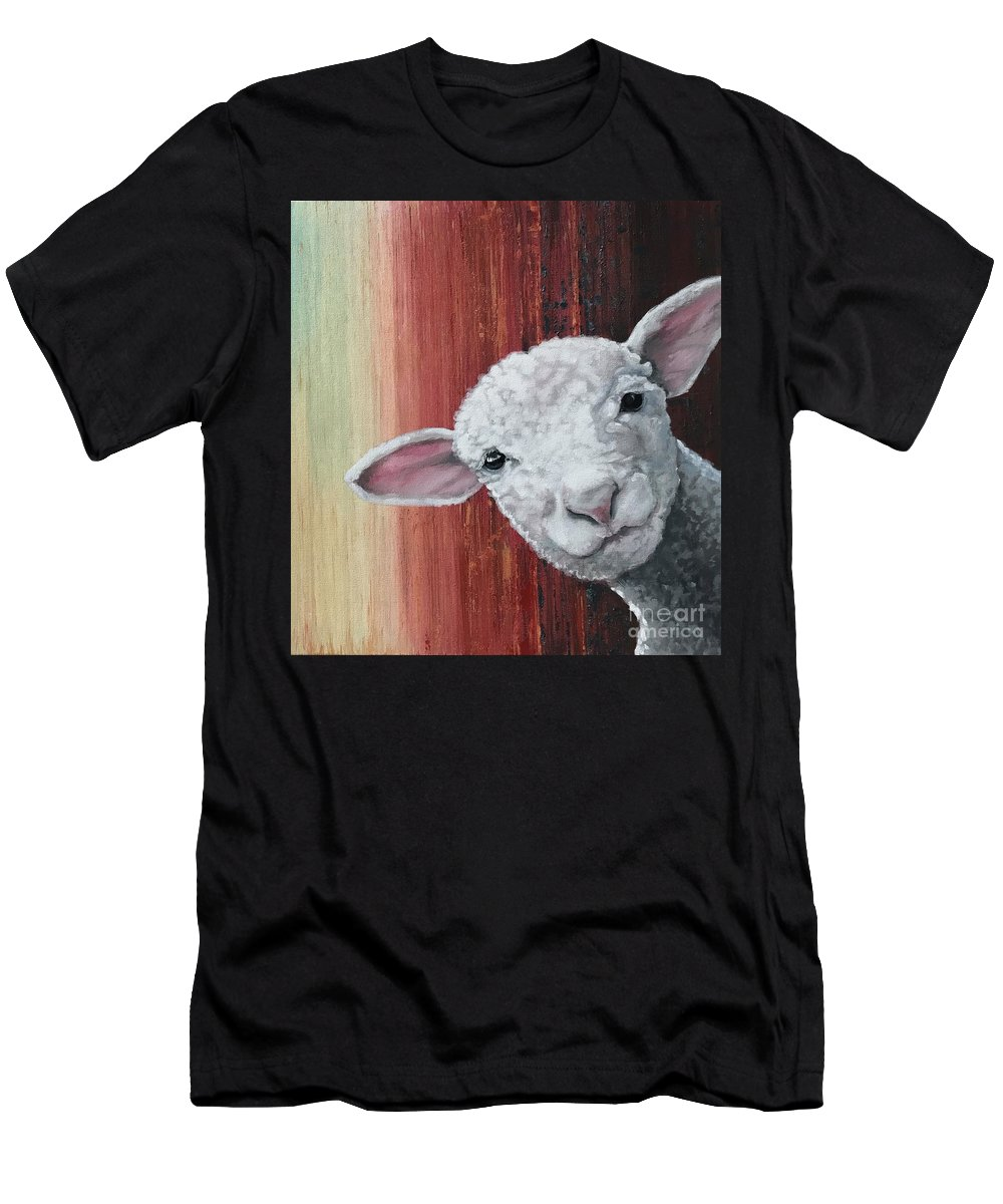 Sheep Men's T-Shirt (Athletic Fit) featuring the painting Lamb by Suzanne Rende