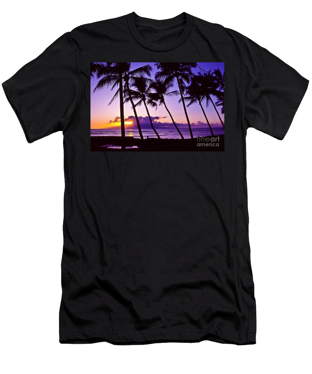 Landscapes Men's T-Shirt (Athletic Fit) featuring the photograph Lanai Sunset by Jim Cazel