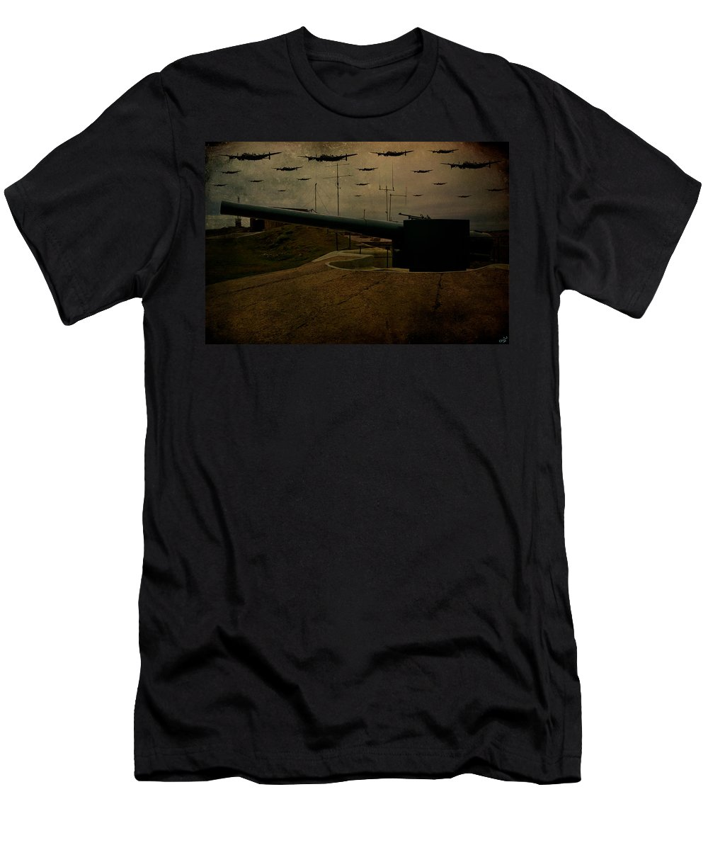 Gun Men's T-Shirt (Athletic Fit) featuring the digital art Lancasters Over Newhaven March 30th 1944 by Chris Lord