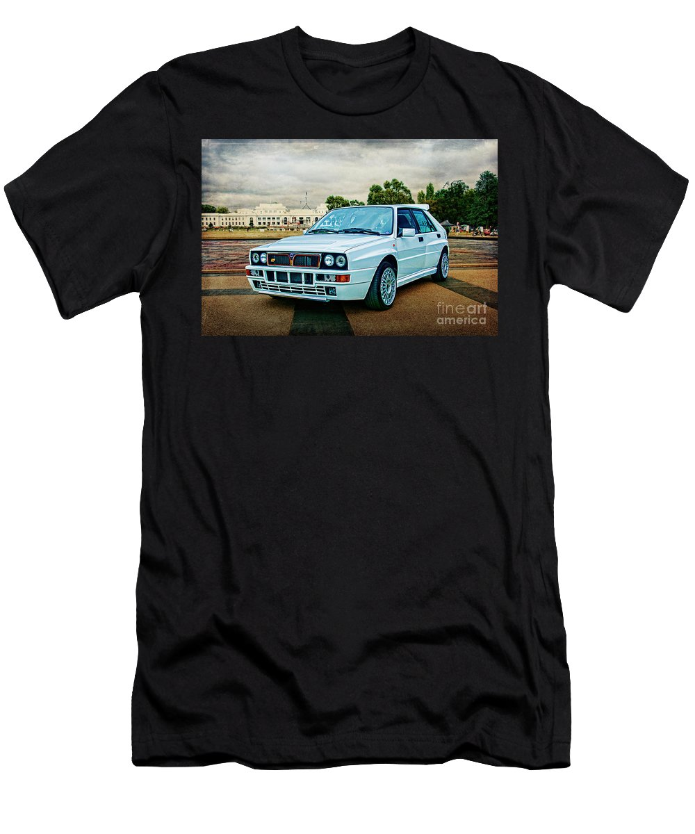 Lancia Men's T-Shirt (Athletic Fit) featuring the photograph Lancia Delta Hf Integrale Evoluzione by Stuart Row