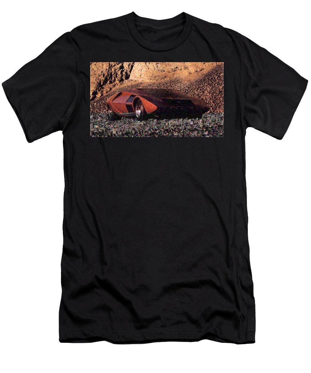 Lancia Stratos Zero Men's T-Shirt (Athletic Fit) featuring the digital art Lancia Stratos Zero by Lora Battle