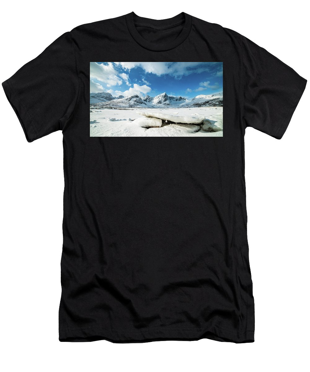 Norway Men's T-Shirt (Athletic Fit) featuring the photograph Land Of Ice And Snow by Adrian Salcu
