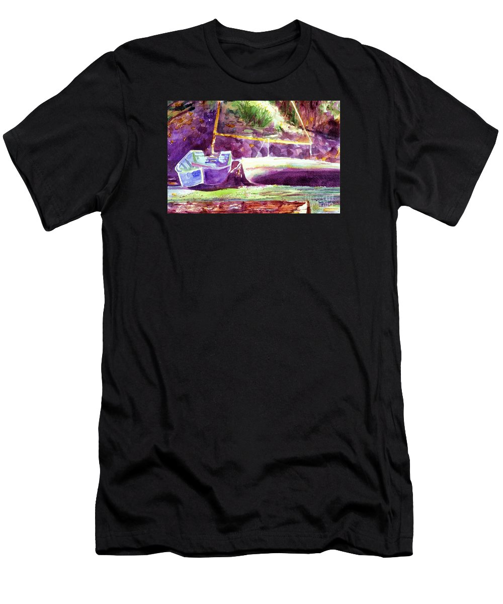 Cynthia Pride Watercolor Paintings Men's T-Shirt (Athletic Fit) featuring the painting Landed Boats by Cynthia Pride