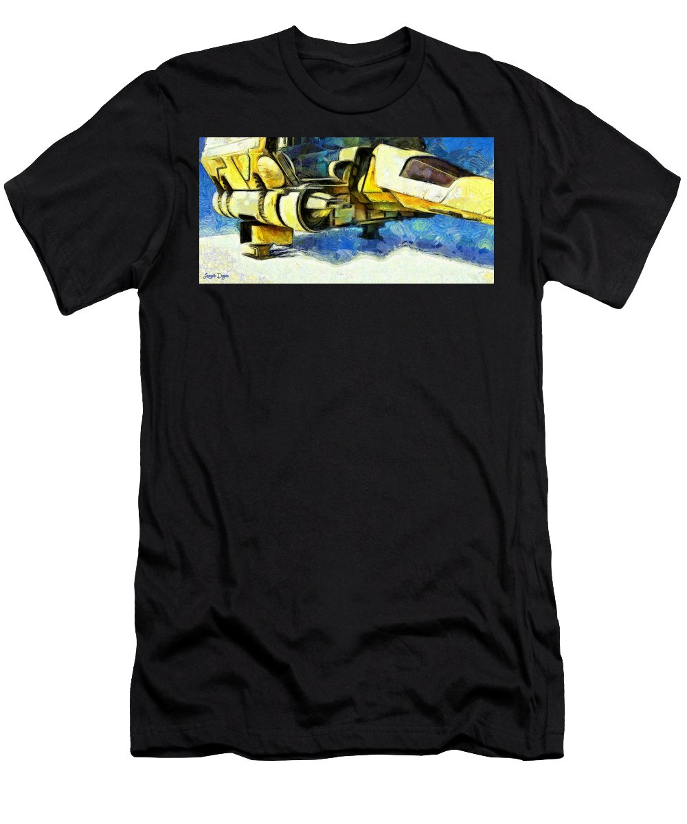 Land Men's T-Shirt (Athletic Fit) featuring the digital art Landed Imperial Shuttle - Da by Leonardo Digenio