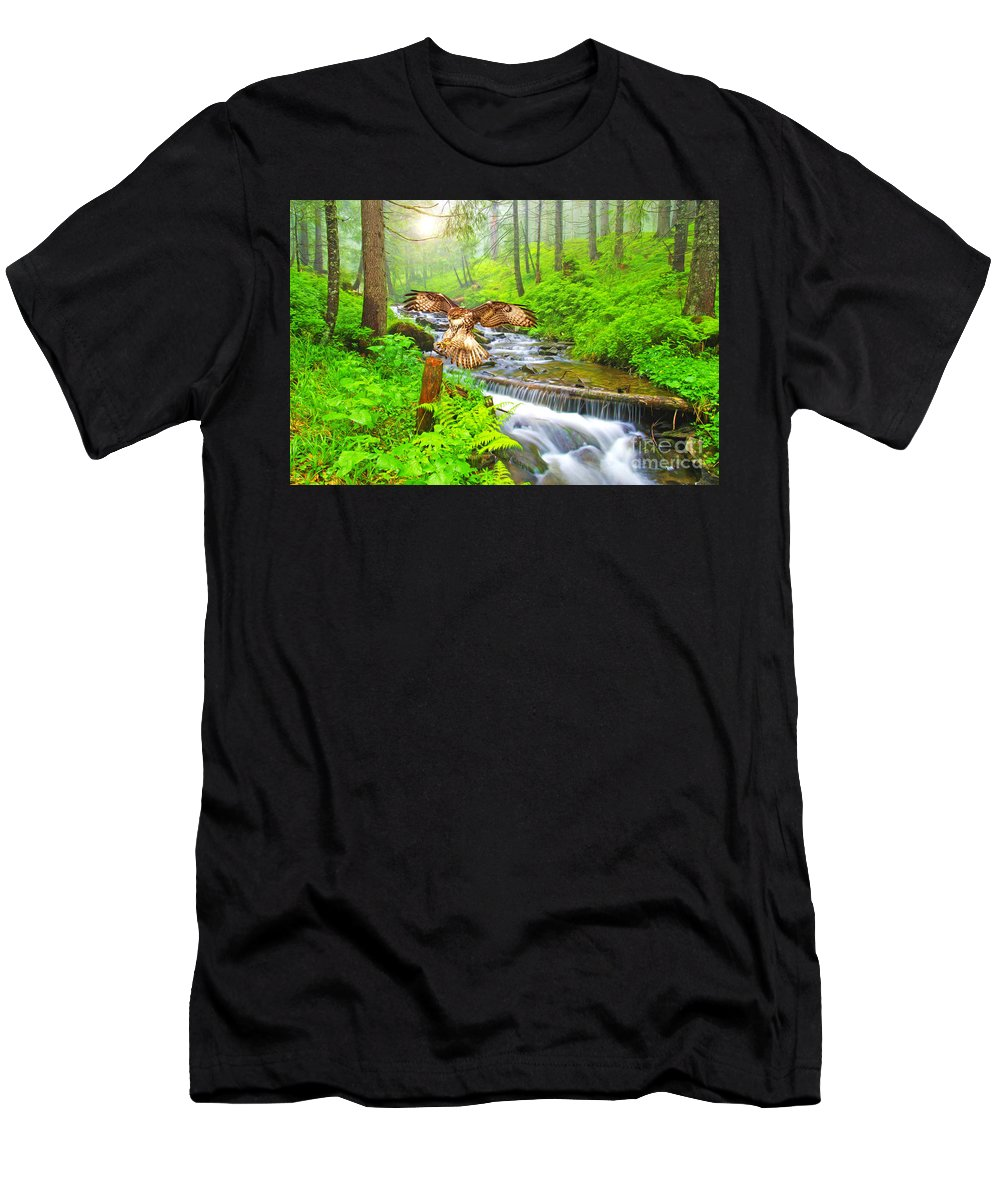 Hawk Men's T-Shirt (Athletic Fit) featuring the photograph Landing Gear Down by Laura D Young