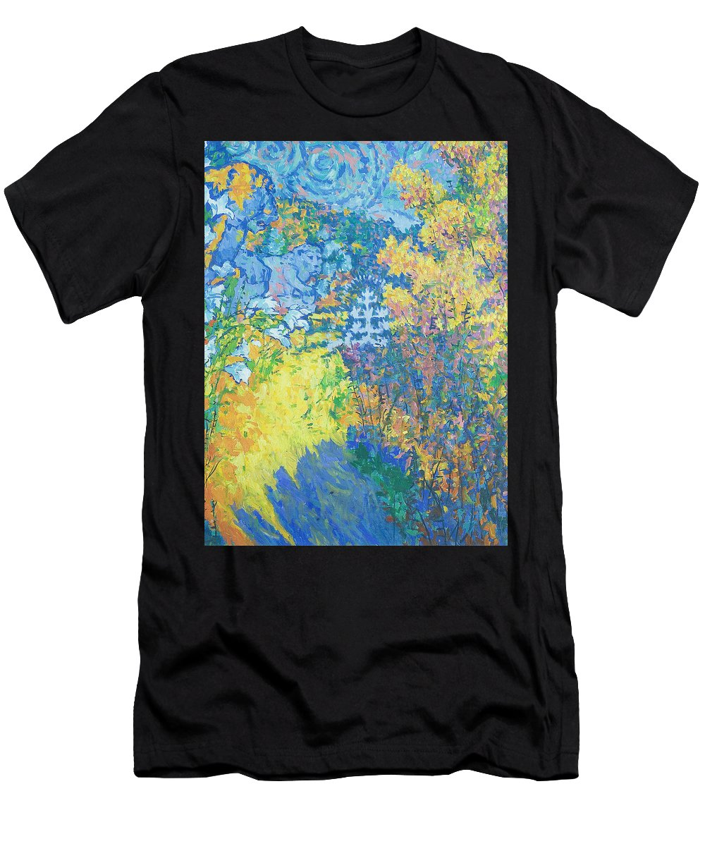 Palace Men's T-Shirt (Athletic Fit) featuring the painting Alupka Palace by Robert Nizamov