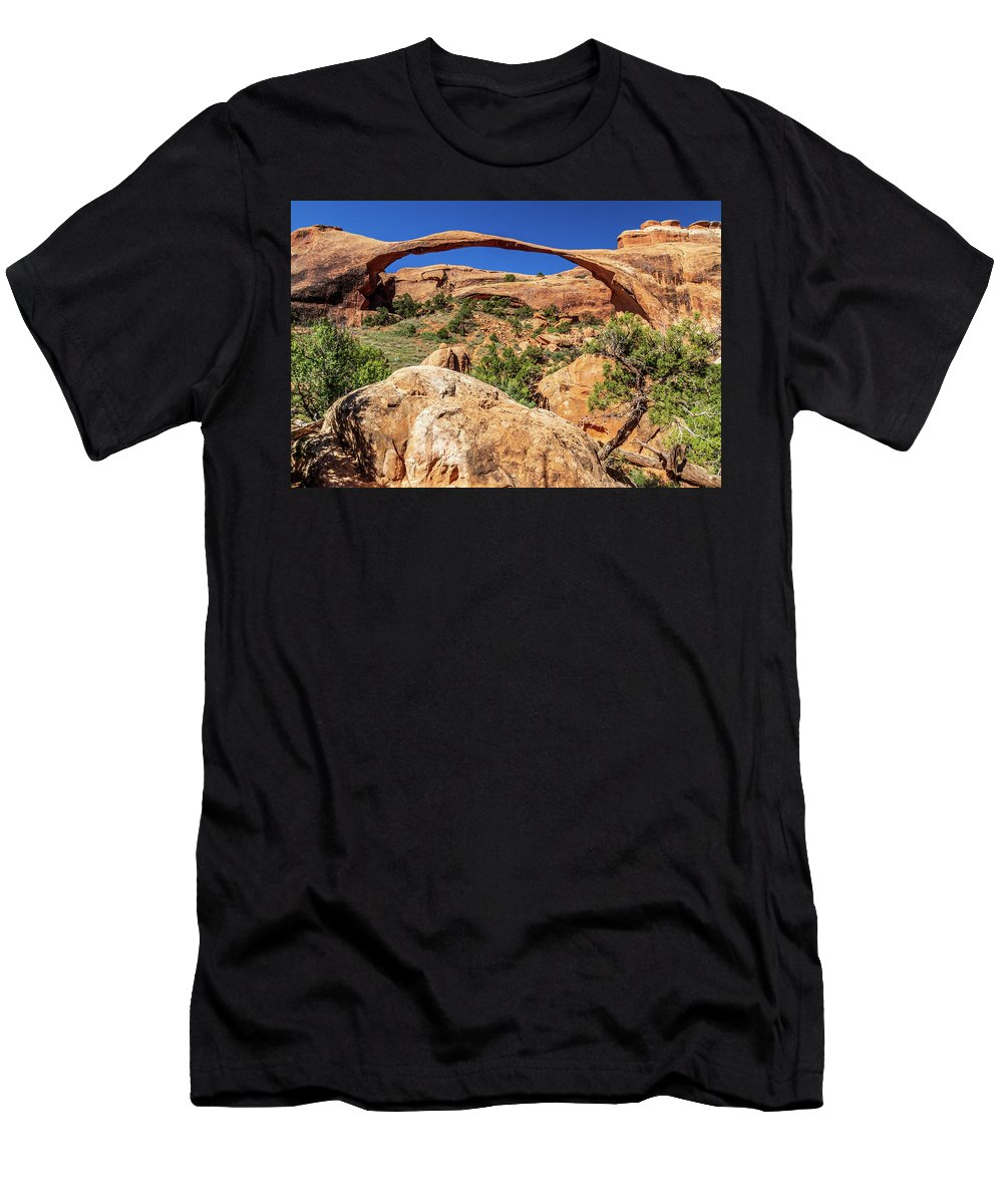 Arch Men's T-Shirt (Athletic Fit) featuring the photograph Landscape Arch by Peter Tellone