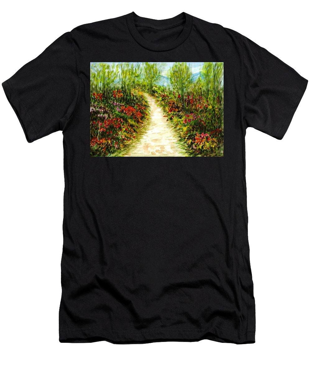 Landscape Men's T-Shirt (Athletic Fit) featuring the painting Landscape by Harsh Malik