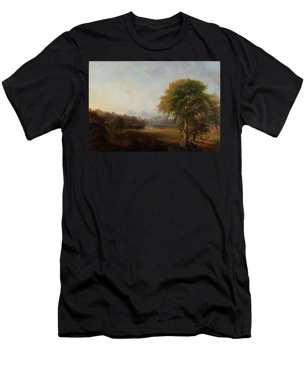 Landscape Men's T-Shirt (Athletic Fit) featuring the painting Landscape by MotionAge Designs