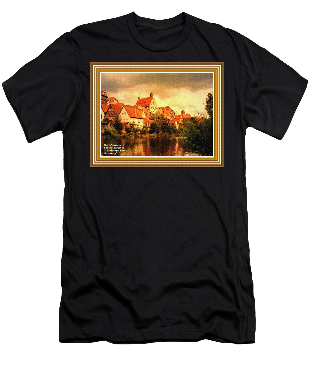 Landscape Men's T-Shirt (Athletic Fit) featuring the painting Landscape Scene - Germany L A With Decorative Ornate Printed Frame. by Gert J Rheeders