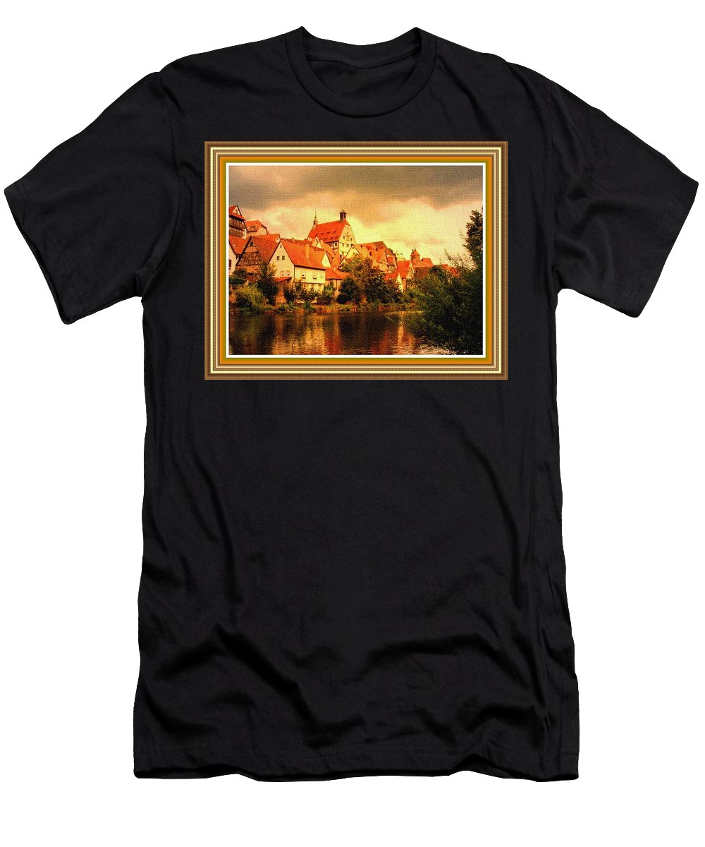 Landscape Men's T-Shirt (Athletic Fit) featuring the painting Landscape Scene - Germany. L B With Decorative Ornate Printed Frame. by Gert J Rheeders