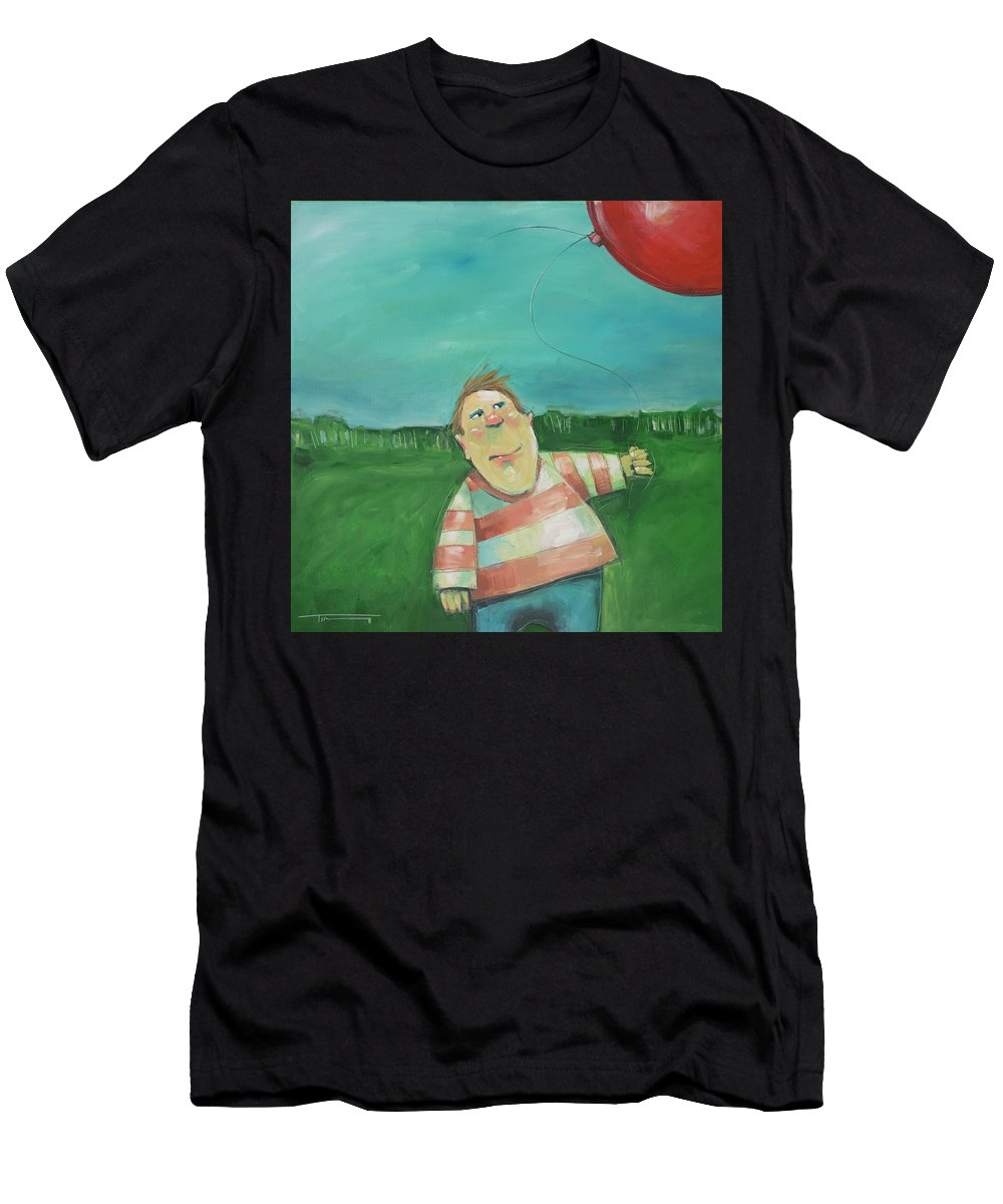 Landscape Men's T-Shirt (Athletic Fit) featuring the painting Landscape With Boy And Red Balloon by Tim Nyberg