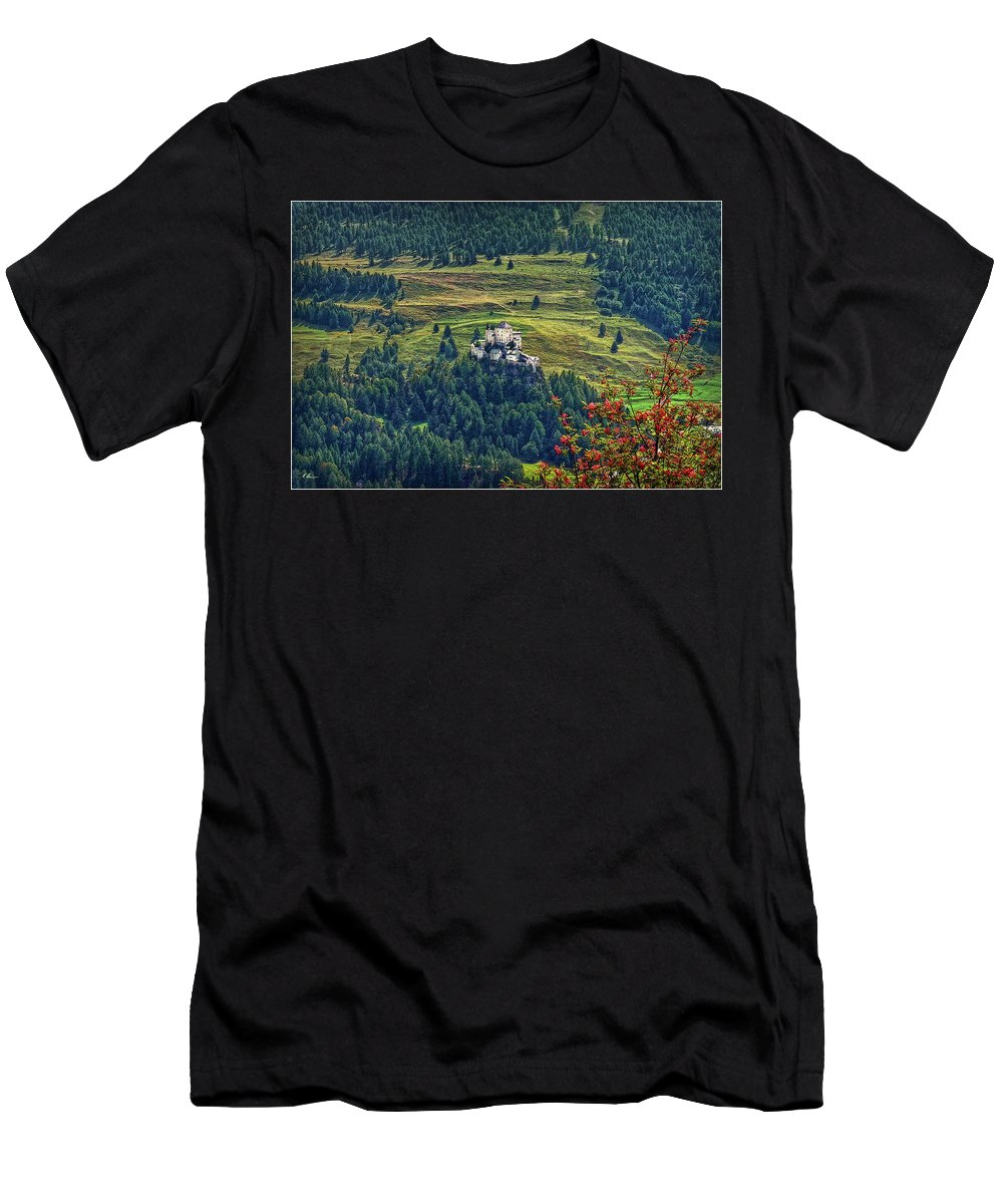 Switzerland Men's T-Shirt (Athletic Fit) featuring the photograph Landscape With Castle by Hanny Heim
