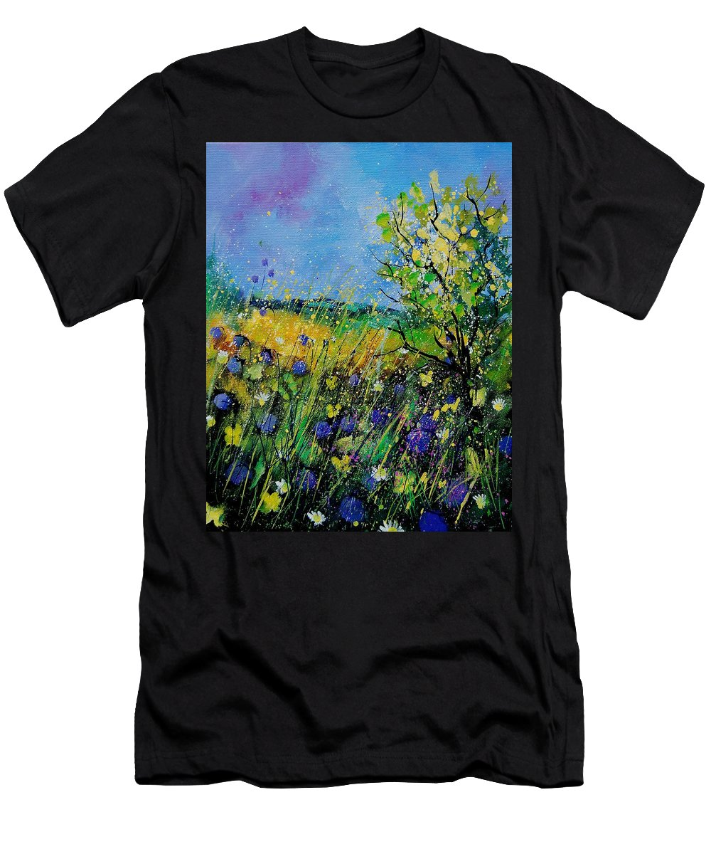 Flowers Men's T-Shirt (Athletic Fit) featuring the painting Landscape With Cornflowers 459060 by Pol Ledent