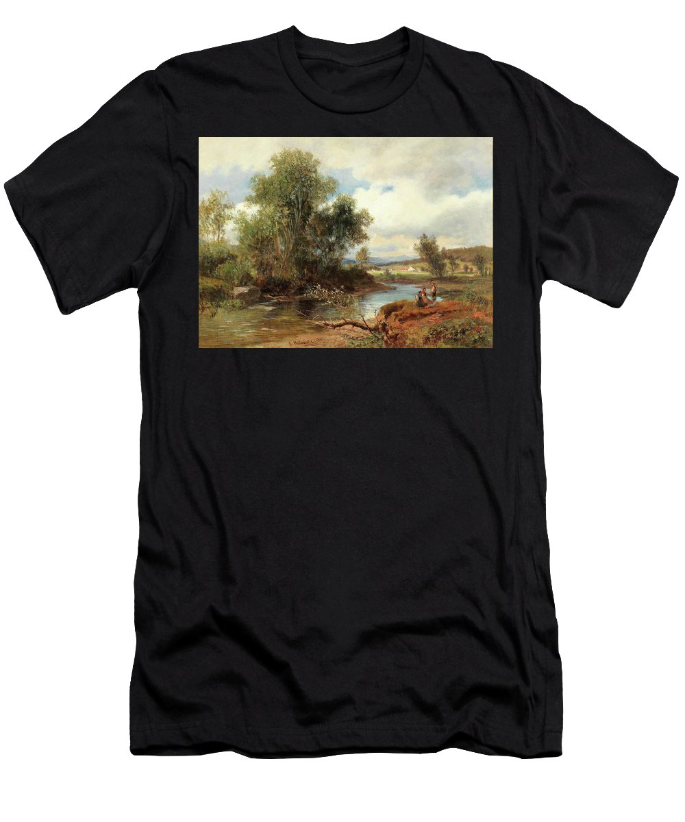 Ludwig Halauska (waidhofen An Der Ybbs 1827-1882 Vienna) Landscape With Stream And Decorative Figures Men's T-Shirt (Athletic Fit) featuring the painting Landscape With Stream And Decorative Figures by MotionAge Designs
