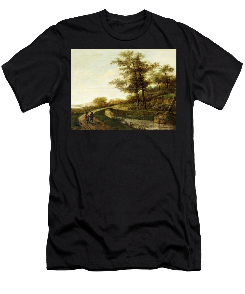 Pieter Jansz Van Asch Attributed To Men's T-Shirt (Athletic Fit) featuring the painting Landscape With Village Path And Men by MotionAge Designs