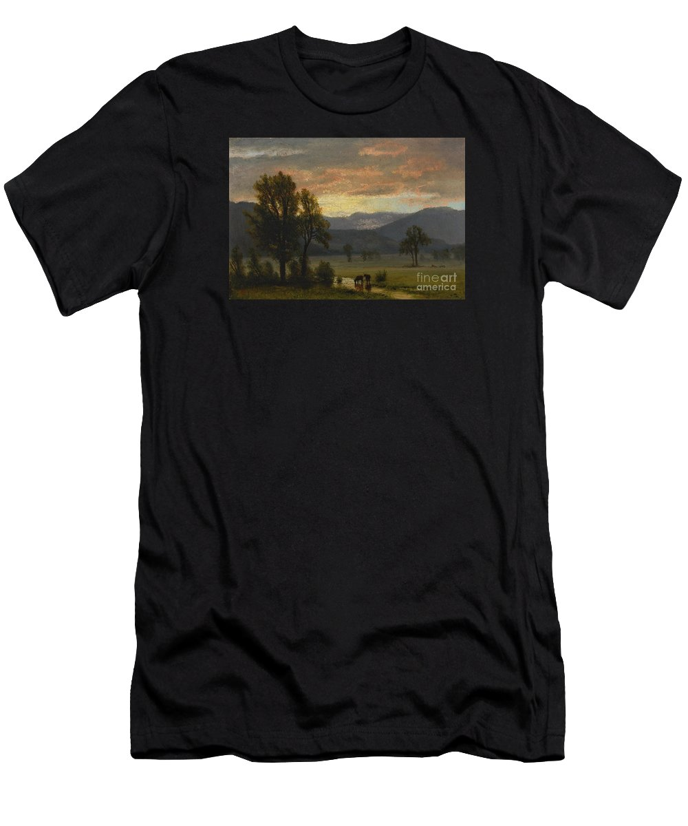 Albert_bierstadt_-_landscape_with_cattle Men's T-Shirt (Athletic Fit) featuring the painting Landscape_with_cattle by Celestial Images