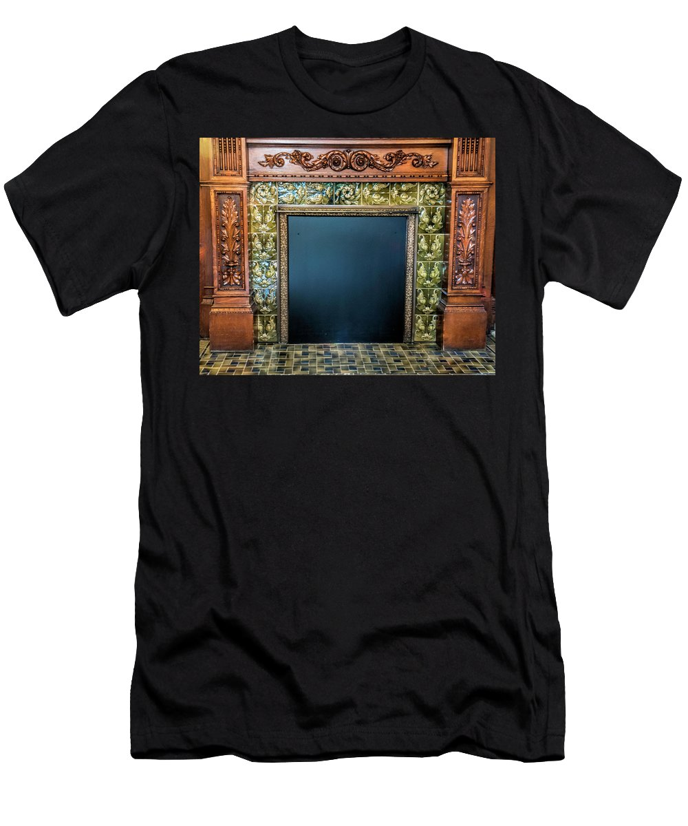 Lane-hooven House Antique Fireplace Men's T-Shirt (Athletic Fit) featuring the photograph Lane-hooven House Antique Fireplace by Phyllis Taylor