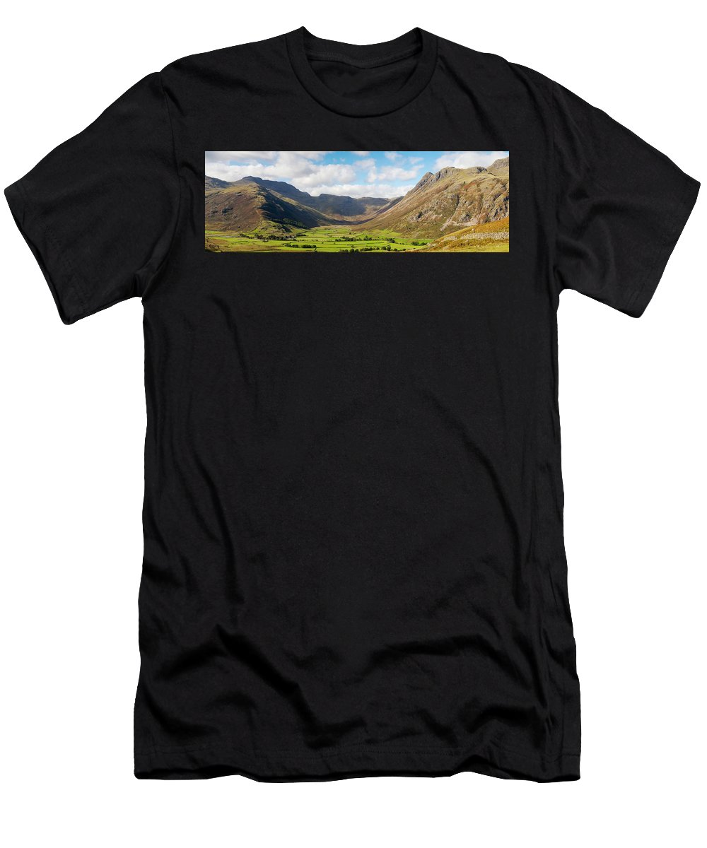 Langdale Men's T-Shirt (Athletic Fit) featuring the photograph Langdale Fell And Pikes Panorama by Joseph Clemson