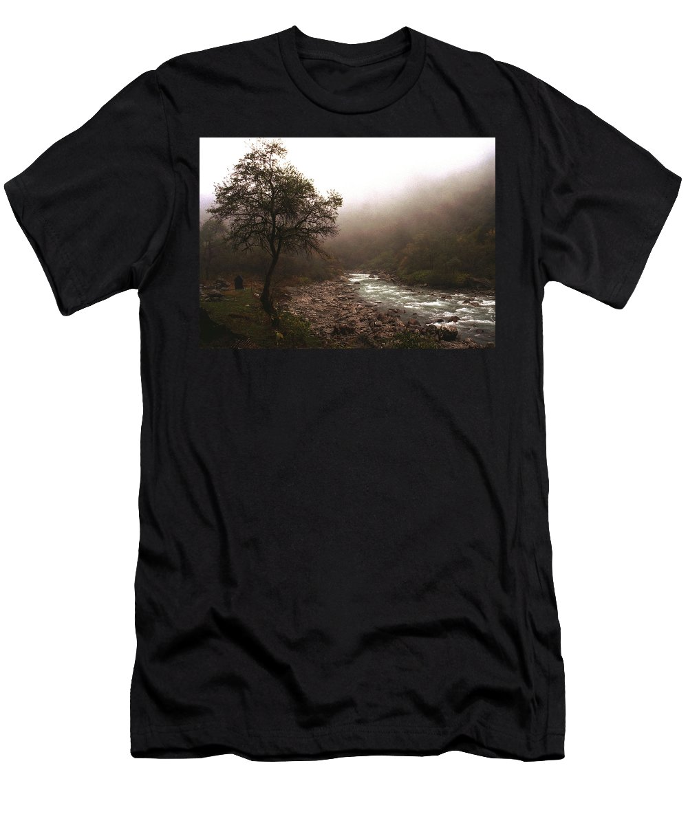 Tree Men's T-Shirt (Athletic Fit) featuring the photograph Langtang Morning by Patrick Klauss