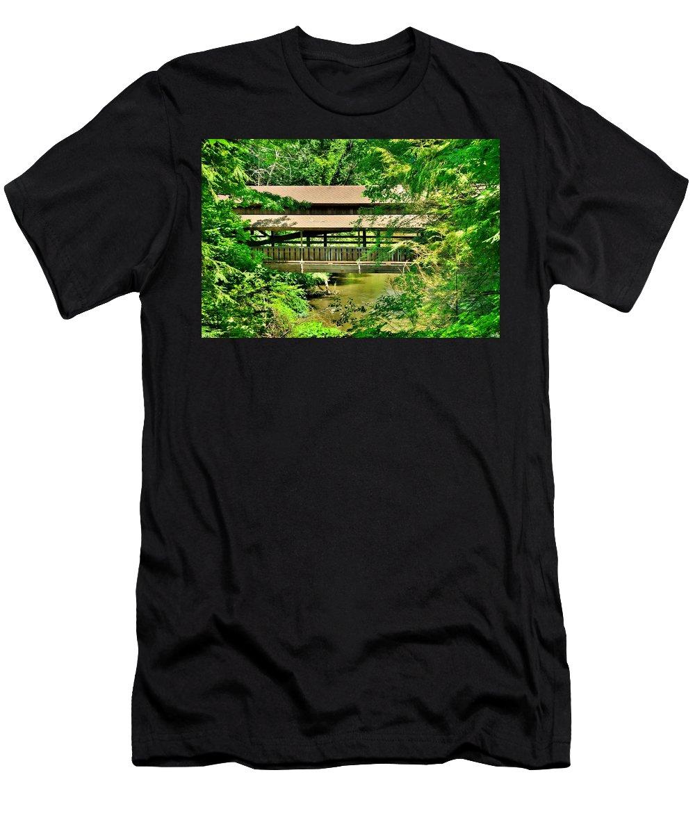 Lanterman's Mill Covered Bridge Men's T-Shirt (Athletic Fit) featuring the photograph Lanterman's Mill Covered Bridge by Lisa Wooten